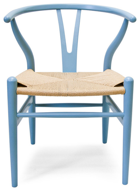Beau Wishbone Chair With Natural Woven Cord, Set Of 2, Light Blue Painted  Beechwood
