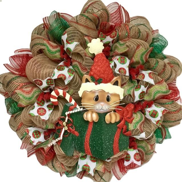 Christmas Kitty Christmas Wreath Burlap Deco Mesh Handmade.