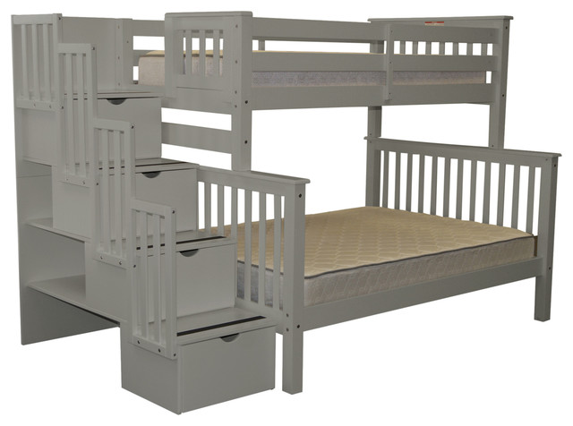 Bedz King Bunk Beds Twin Over Full Stairway With 4 Step Drawers, Gray.