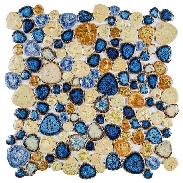 "11.5""x11.5"" Porcelain Mosaic Growing Blue, Roman, Set of 10"