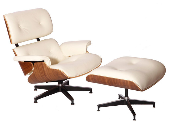 Aniline Leather Lounge Chair And Ottoman Midcentury