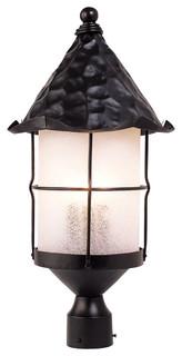 Elk Rustica 3-Light Outdoor Post Light, Matte Black With Scavo Glass 389-BK