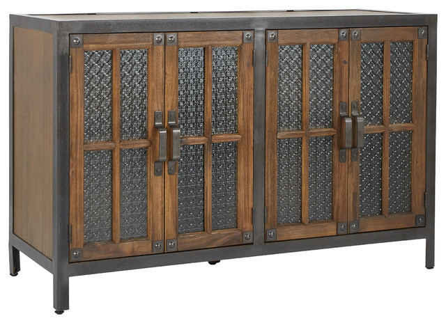 Catania Console 4-Door, Alder With Rustic Metal.