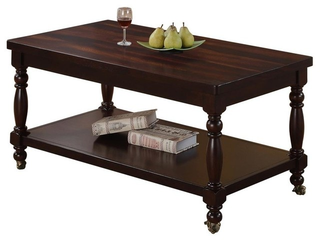 Coffee Table With Casters Traditional Tables