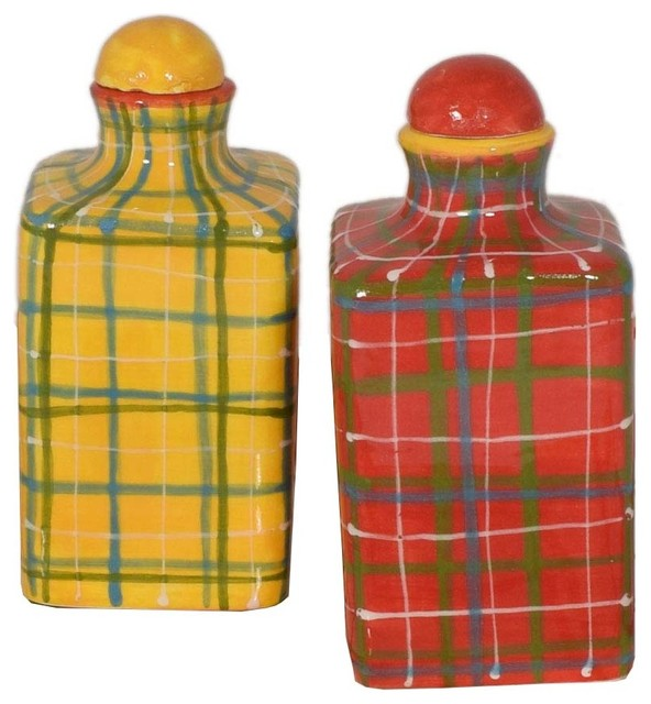 Tartan Square Ceramic Oil Or Vinegar Bottles.