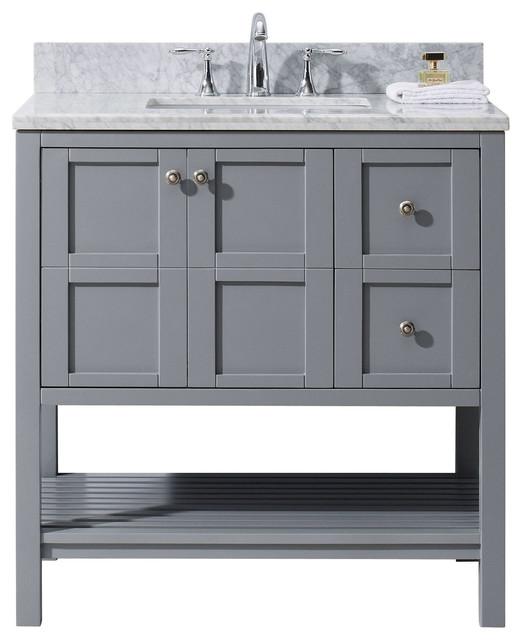 Winterfell 36 Single Bathroom Vanity Cabinet Set, Gray.