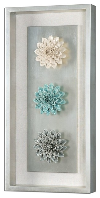 Framed Ceramic Flower Wall Art