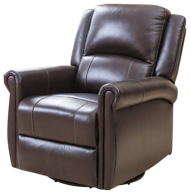 abbyson living elena swivel glider recliner chair in dark brown