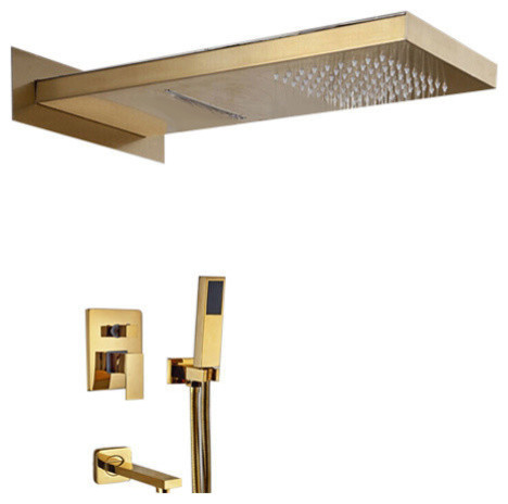 Gold Wall Mount Shower Set With Handheld Shower Head And Tub Faucet