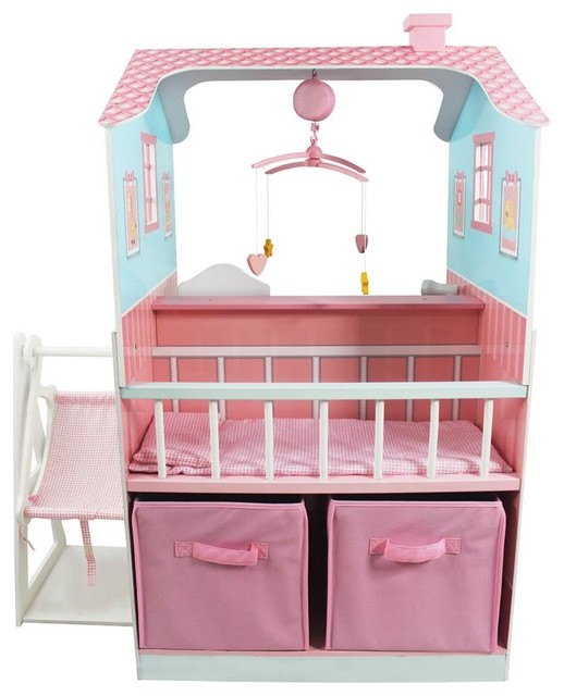 Baby Nursery Dollhouse, Pink Contemporary Kids Toys And Games