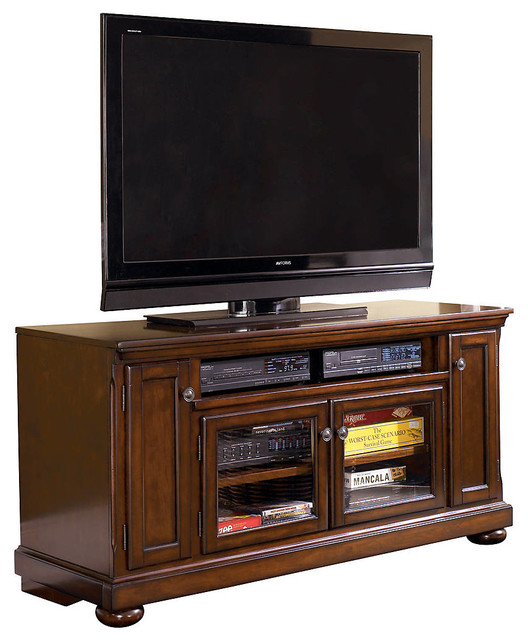 Ashley Porter Large Tv Stand Rustic Brown Traditional