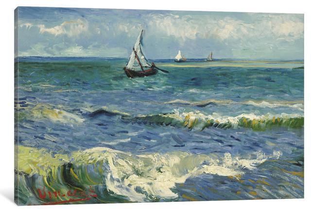 """""""Seascape Near Les Saintes Maries De La Mer"""" Wrapped Canvas  Print, 26x18x0.75"""