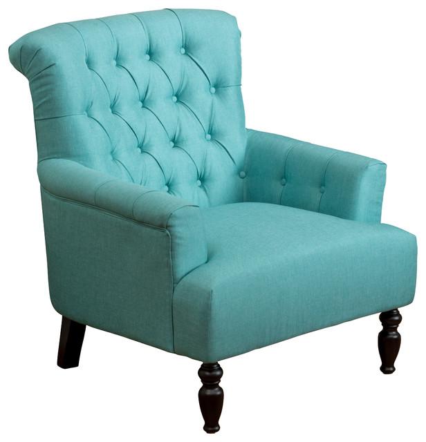 Harvey Teal Fabric Club Chair Traditional Armchairs