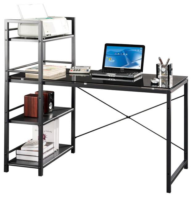 Techni Mobili Glass Desk With Built-In Shelves, Gray.
