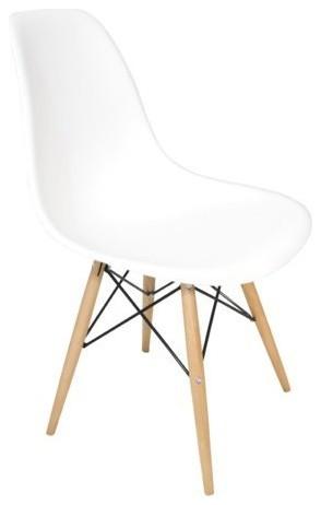 White DSW Midcentury Dining Shell Chairs, Beech Wood Eiffel Legs, Single Cha