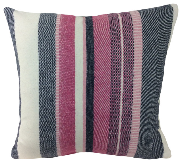Pink Purple Cream Striped Robert Allen Decorative 18 Throw Pillow Cover