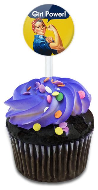 Rosie The Riveter Girl Power Cupcake Toppers Picks Set