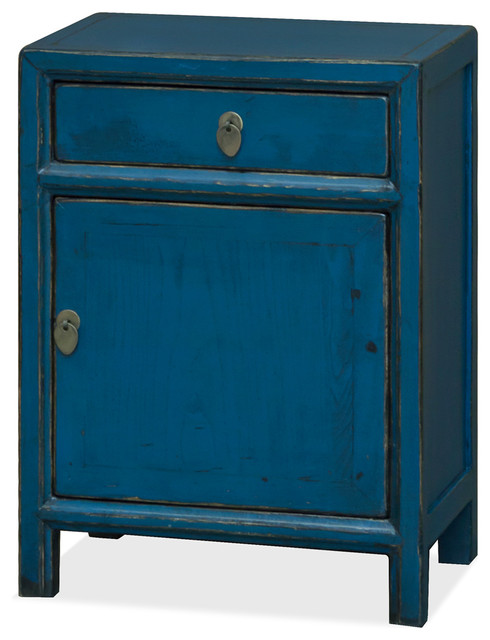 Popular Chinese Ming Style Nightstand Cabinet, Distressed Blue - Asian  RI52