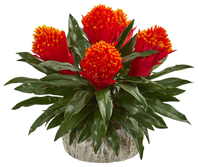 Bromeliad Artificial Plant In Weathered Oak Planter Tropical Artificial Flower Arrangements By Nearly Natural Inc