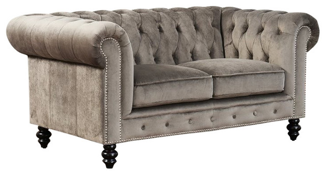 Abbyson Living Velvet Loveseat in Gray Traditional Loveseats