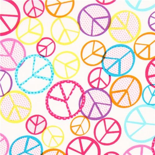 white peace signs fabric by Timeless Treasures