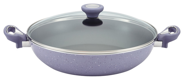 "Farberware Speckled Aluminum Nonstick 12-1 And 2"" Covered Skillet, Lavender."