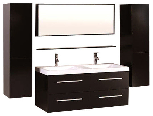 48 double sink white bathroom vanity floating bath cabinet with side mirror contemporary inch set home depot