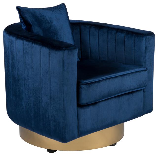 Irina Swivel Barrel Chair Royal Blue Gold