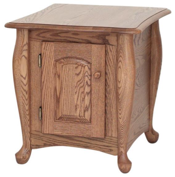 Solid Oak Queen Anne End Table, Autumn Oak