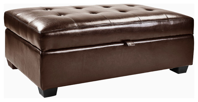 Corliving Antonio Storage Ottoman In Brown Bonded Leather.