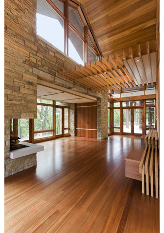 Bamboo Floors Stone Walls Wood Ceiling And Details