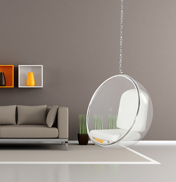 bubble hanging chair wiht white cushion by lamoderno clear acrylic with white c modern furniture in style