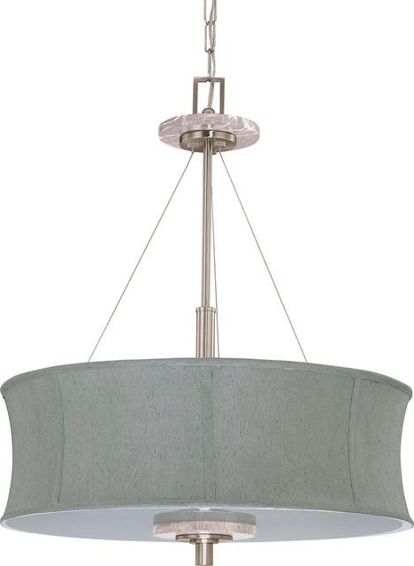 nuvo lighting madison es 4light pendant with grey fabric shade - Nuvo Lighting