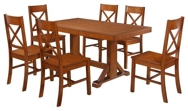 Millwright 7-Piece Wood Dining Set, Antique Brown.