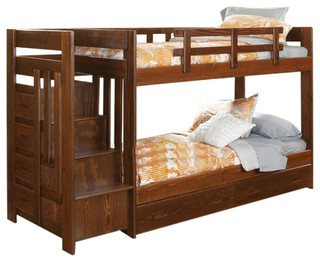 Twin Over Twin Reversible Stair Bunk Bed With Underbed