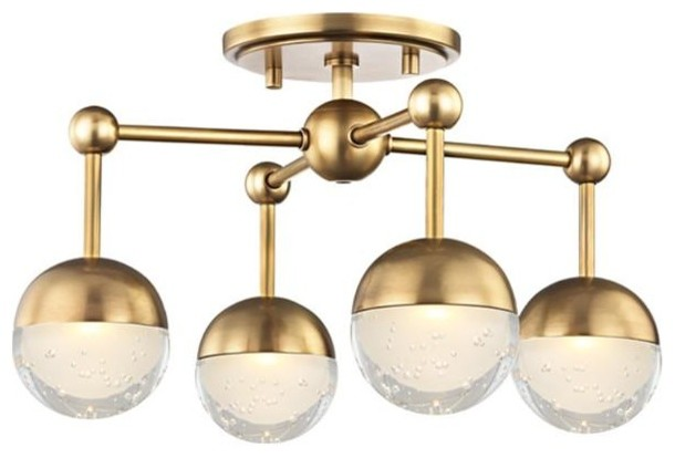 Boca 4 Light LED Flush Mount, Aged Brass Finish, Clear, Etched Glass