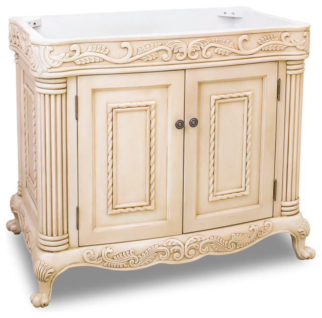 Antique White Ornate Vanity Traditional Bathroom Vanities And - Bathroom vanity no sink