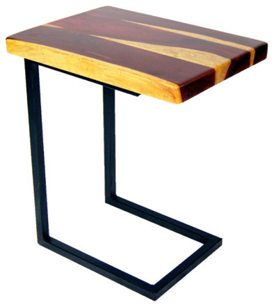 Wood C Shape Side Table, Tigerwood Craftsman Side Tables And