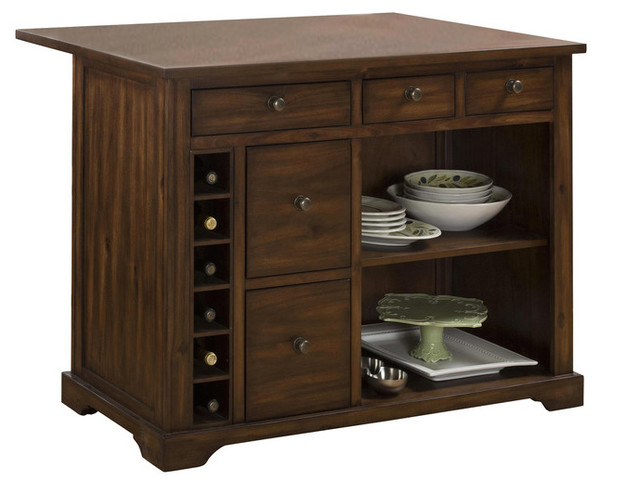 Jofran Kitchen Island With Expandable Drop Leaf Table Top, Cooke County  Rustic Kitchen