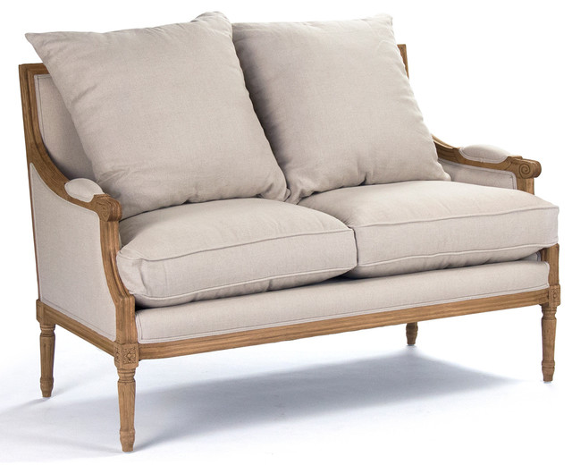 St Germain French Country Louis Xvi Natural Oak Frame Linen Settee