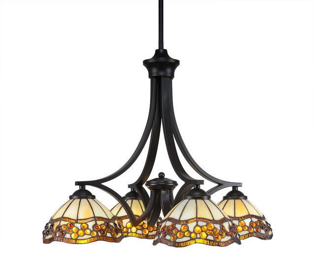 Progress Lighting Riverside Collection 4 Light Heirloom: Zilo 4-Light Chandelier Matte Black Roman Jewel Tiffany