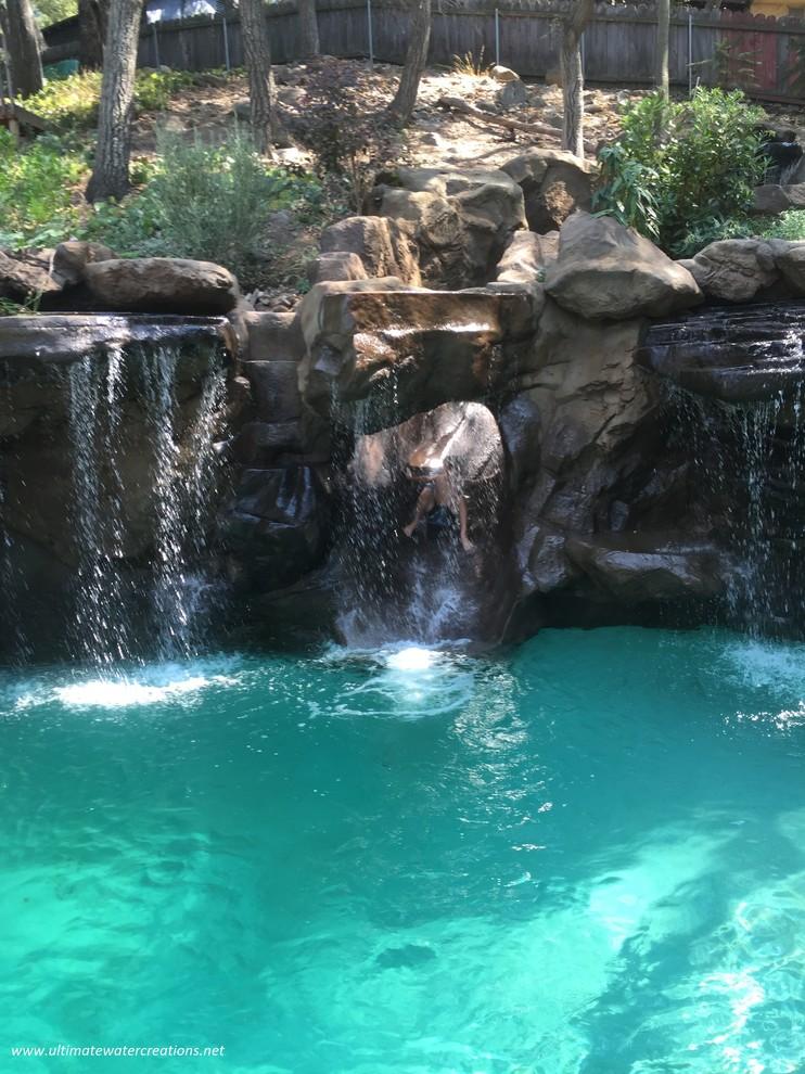 Before & After -Naturalistic Pool, Spa and a Slide in La Crescenta, CA