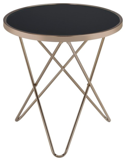 Acme Valora End Table, Black Glass And Champagne Midcentury Side Tables And