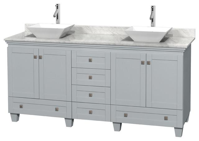 72 double bathroom vanity gray contemporary bathroom - Contemporary bathroom vanities without tops ...
