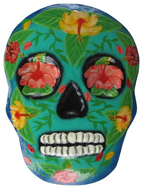 Day of the Dead Sugar Skull Teal Haitian Metal Wall Art 9 ...