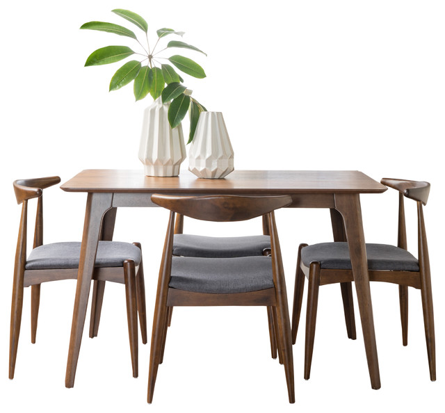 Francaise Mid Century Walnut Finish Dining Charcoal 5 Piece Set