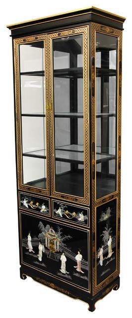 Tall Lacquer Curio Cabinet Black, Tall Curio Cabinet