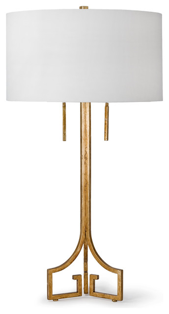Tandy Hollywood Regency Linen Gold Leaf Table Lamp.