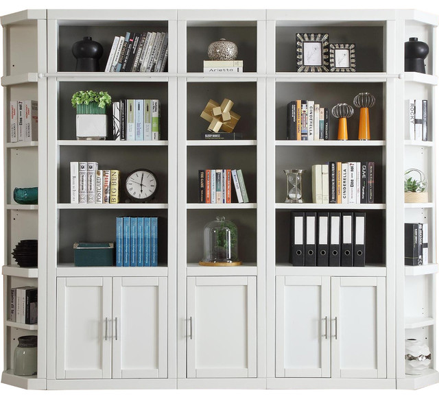 Parker House Catalina 5 Piece Library Wall In White, #4  Contemporary Bookcases
