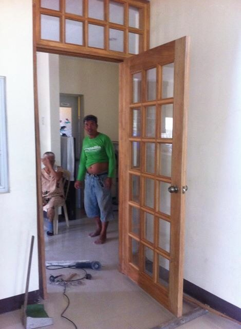 Newly installed French door in between living room and kitchen